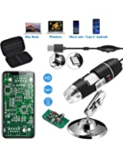 Jiusion Original 40-1000X USB Microscope with Portable Carrying Case, Digital Magnification Endoscope Camera 8 LEDs Metal Base for Micro USB USB-C Android, Windows Mac Linux Chrome