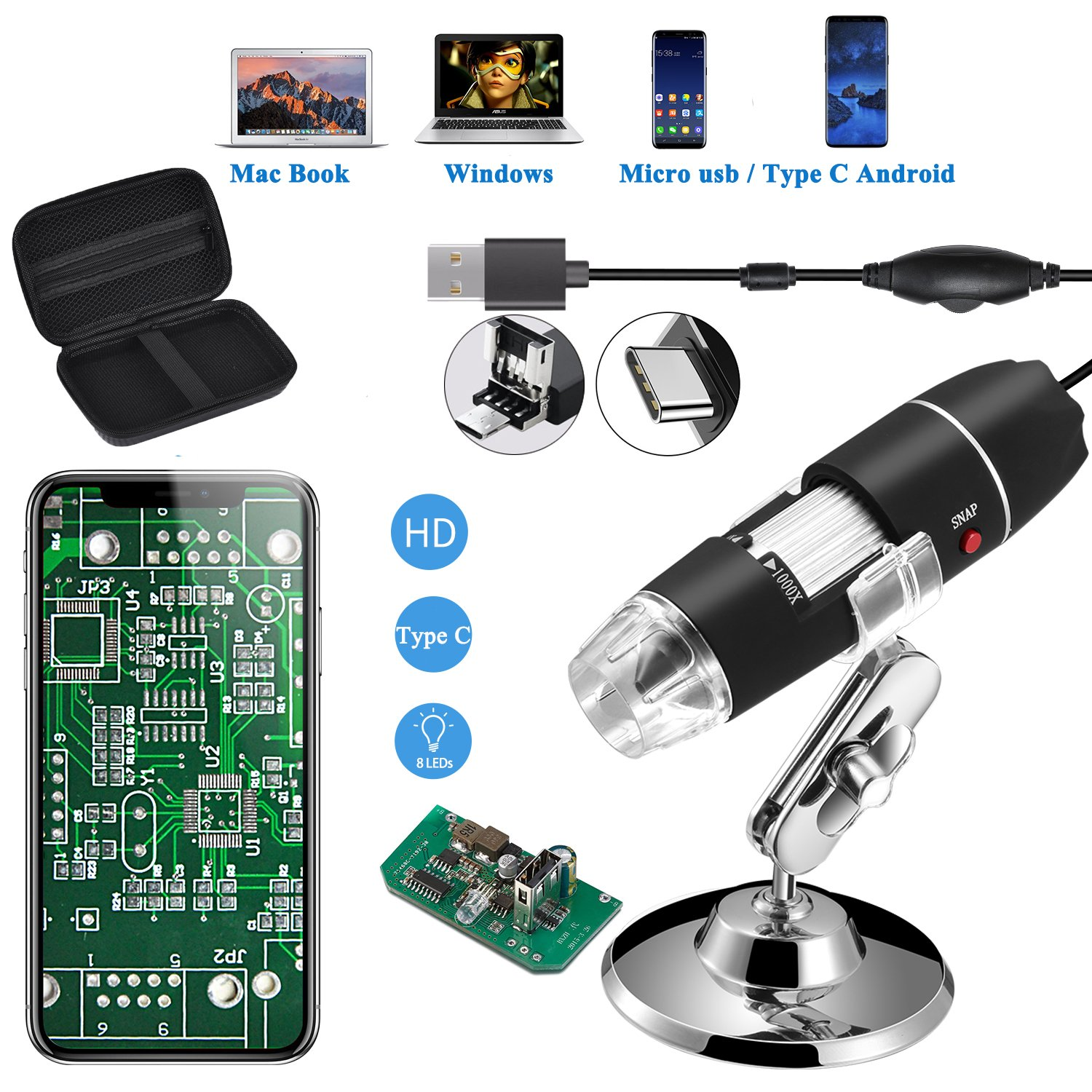 Jiusion Microscopio USB originale 40-1000X con Custodia Portatile, Fotocamera Digitale per Endoscopio Ingrandimento 8 LED Base Metallica per Micro USB Tipo C Android, Windows Mac Linux Chrome Jiusion-Microscope+Bag