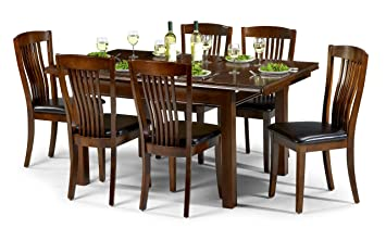 Julian Bowen Canterbury Extending Dining Table Set with 6 Chairs - Mahogany Coloured Lacquer Amazon.co.uk Kitchen u0026 Home  sc 1 st  Amazon UK : mahogany dining table set - pezcame.com
