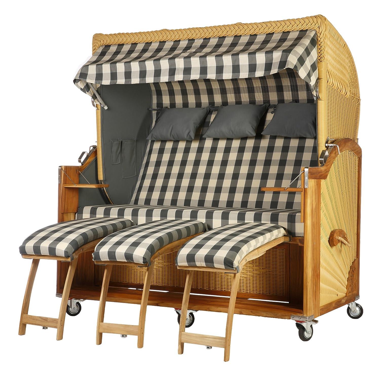 Teak divano da 3posti grigio a quadretti 170cm larghezza in rattan naturale con accessori Wodega