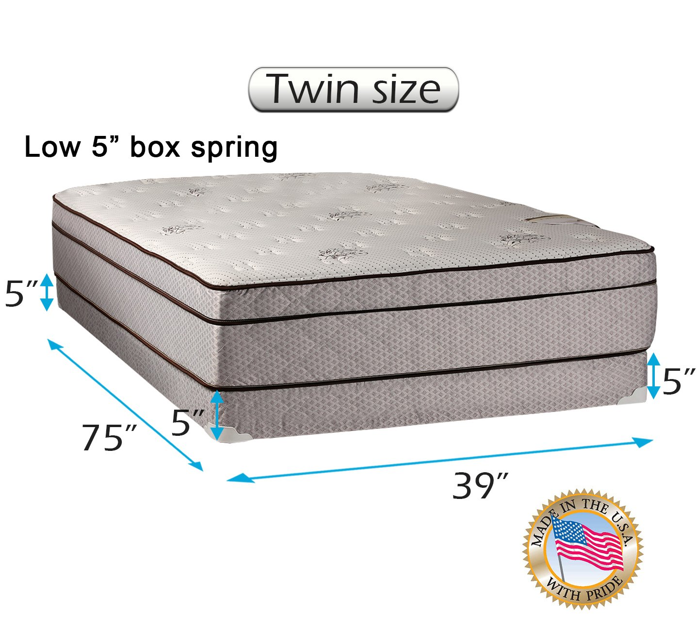 Dream Solutions Fifth Ave Extra Soft Foam Eurotop (PillowTop) Twin Mattress & Low 5'' Height Box Spring Set with Mattress Cover Protector Included - Fully Assembled, Orthopedic, Quality Sleep System by Dream Solutions USA