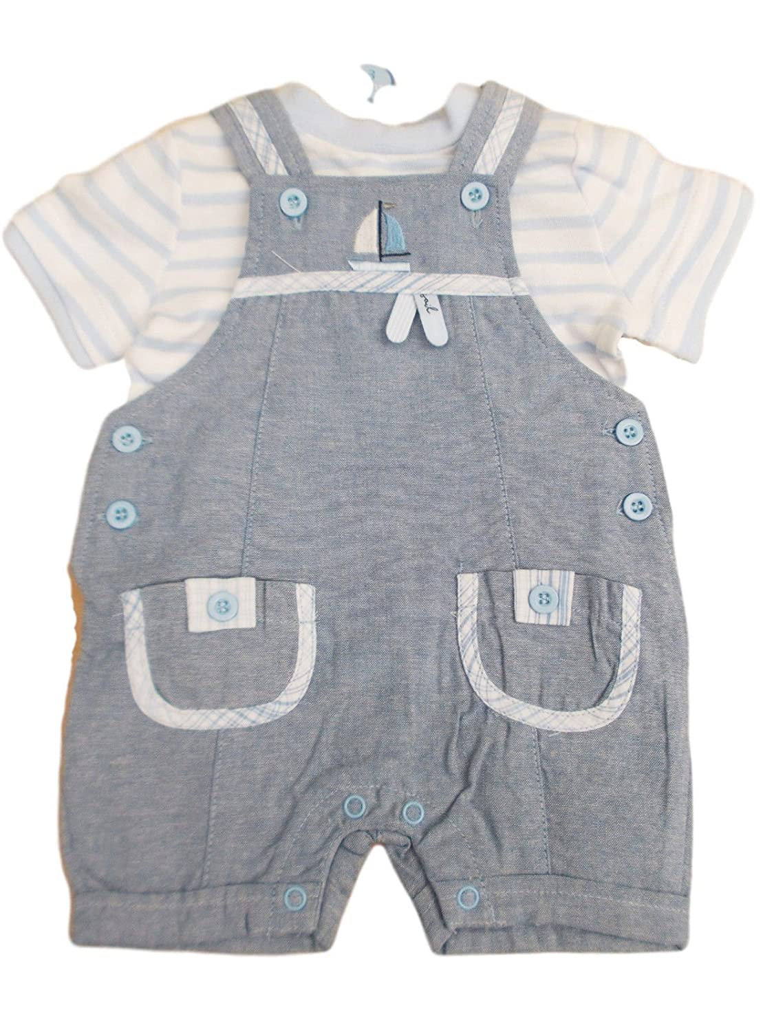 BNWT Baby Boys blue summer sailing ship 2 Piece dungaree & top Set clothes