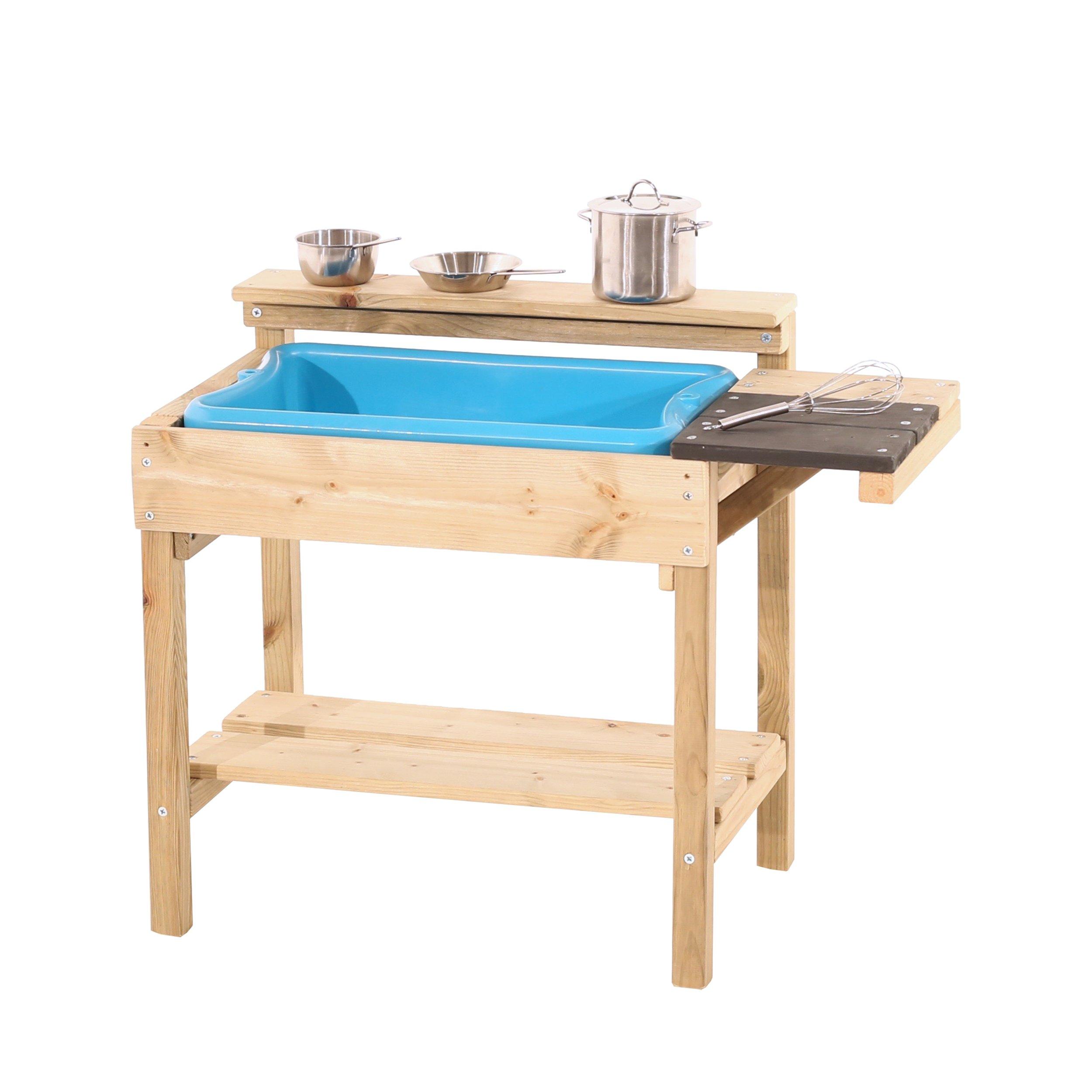 Teamson Kids TDF-00005 Little Chef Mud Outdoor Play Kitchen-Aqua//Wood