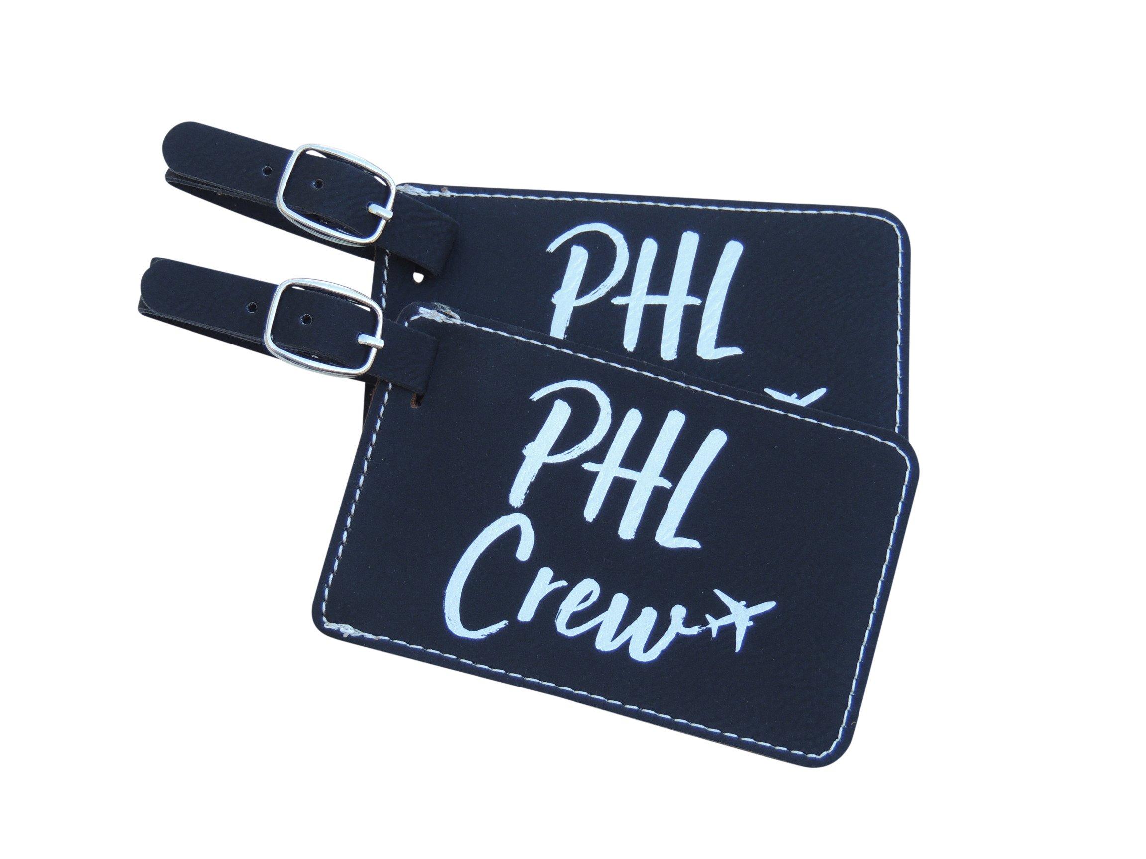 Philadelphia Crew Luggage Tag, American PHL Crew Base Set of Two, (Black)