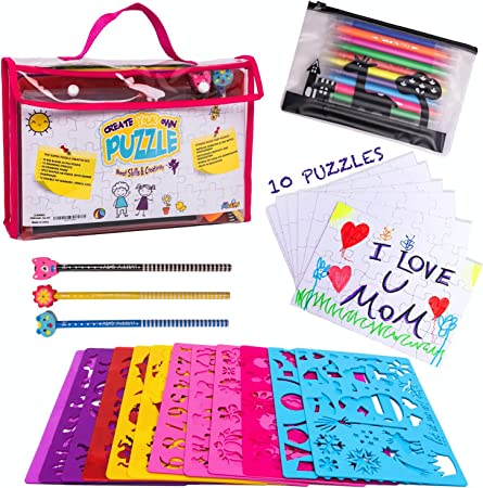 Ink Pad Arts /& Crafts Pack For Children with Pens Stencil Toy Cutters Cork Glitter PVA Glue Notebook Stampers Stencils Dough Bag
