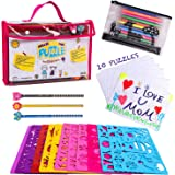 Drawing Stencils Set for Kids (59 Pieces) &Jigsaw puzzle- Creativity art Kit & Travel Activity- Reusable stencils, 200…