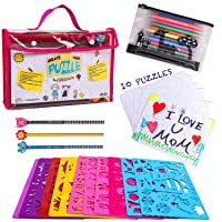 Drawing Stencils Set for Kids (59 Pieces) &Jigsaw puzzle- Creativity art Kit & Travel Activity- Reusable stencils, 200+ Shapes, Arts and Crafts for Girls & Boys-Educational Toys Age 4+ Ideal Kids Gift