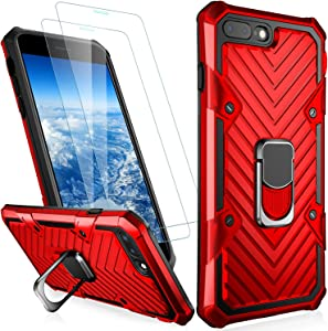 MERRO iPhone 8 Plus Case,iPhone 7 Plus Case with Screen Protector,Pass 16ft. Drop Tested Military Grade Cover with Magnetic Kickstand,Protective Phone Case for Apple iPhone 7 Plus/8 Plus Red