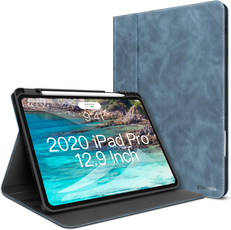 iPad Pro 12.9 Case - New iPad 4th Generation Leather Case 2020/2018 with Pencil Holder - Minimalist Folio Smart Cover Auto Sleep/Wake [Supports Wireless Charging]