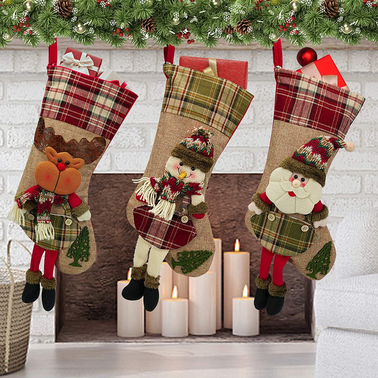 Christmas Stocking Personalised Luxury Lined Polar Bear Snowman Rudolph New Cute