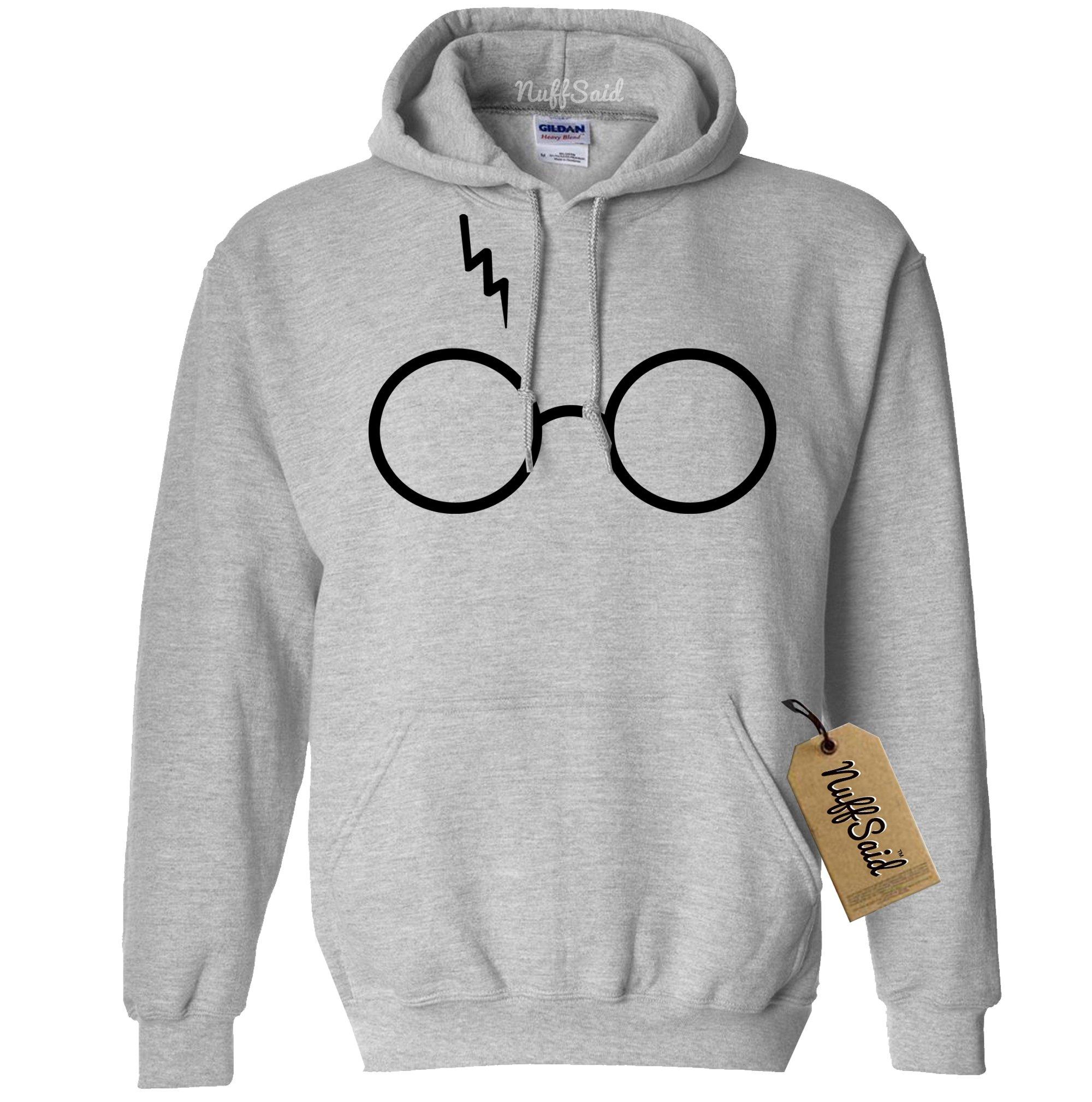 Glasses w/Lighting Scar Inspired by Harry Potter Hoodie Sweatshirt- Unisex Fit (Large, Grey w/Black Ink)