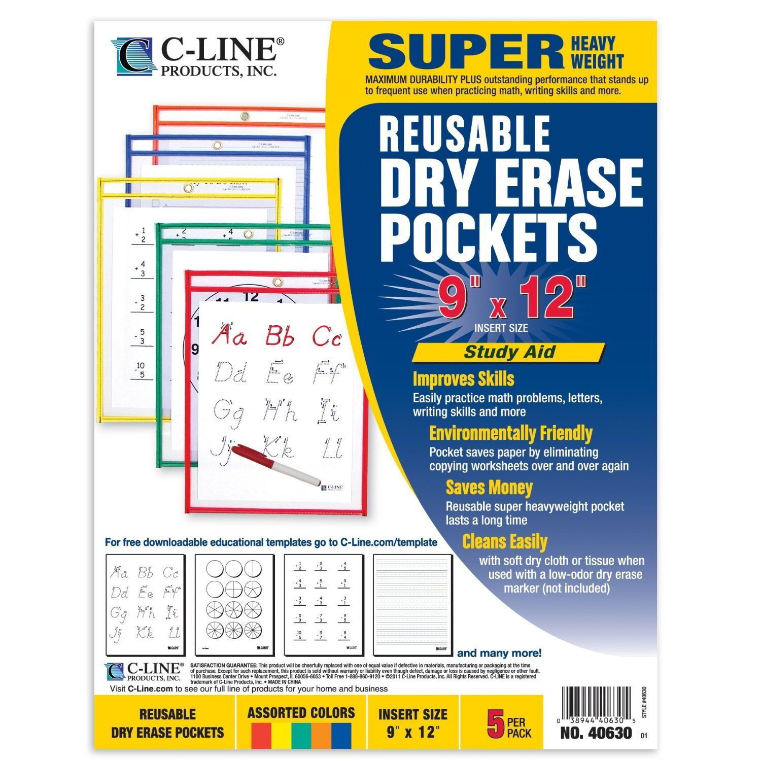 12PK C-Line Reusable Dry Erase Pockets 9'' x 12'' Colors Vary 5 Pockets/Pack 40630