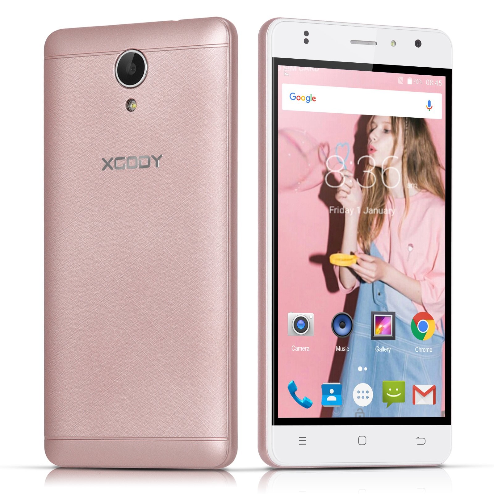 Xgody 4g Cell Phones Unlocked 16GB ROM 1GBA RAM Android 6.0 5 Inch Quad-Core 720 x 1280 Pixels HD Screen 8MP Camera Wifi Dual Sim Telefono Android Desbloqueado Rose Gold