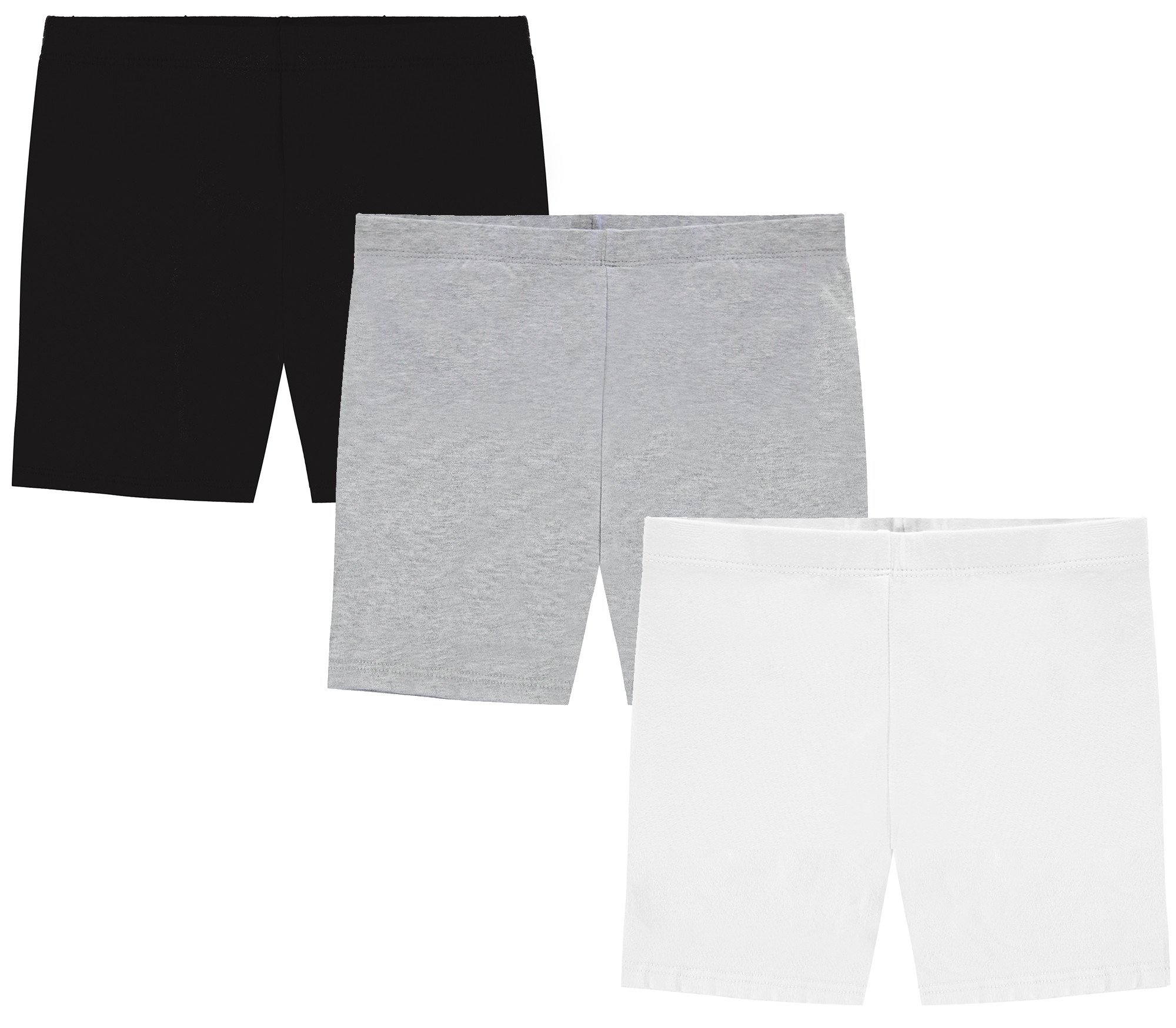 My Way Girls' Value Pack Solid Cotton Bike Shorts - Black, Heather Grey, and White - 6