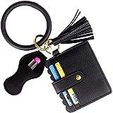 BIHRTC Wristlet Wallet Bracelet Keychain Pocket Card Holder Tassel Keyring with Charpstick Holder for Women