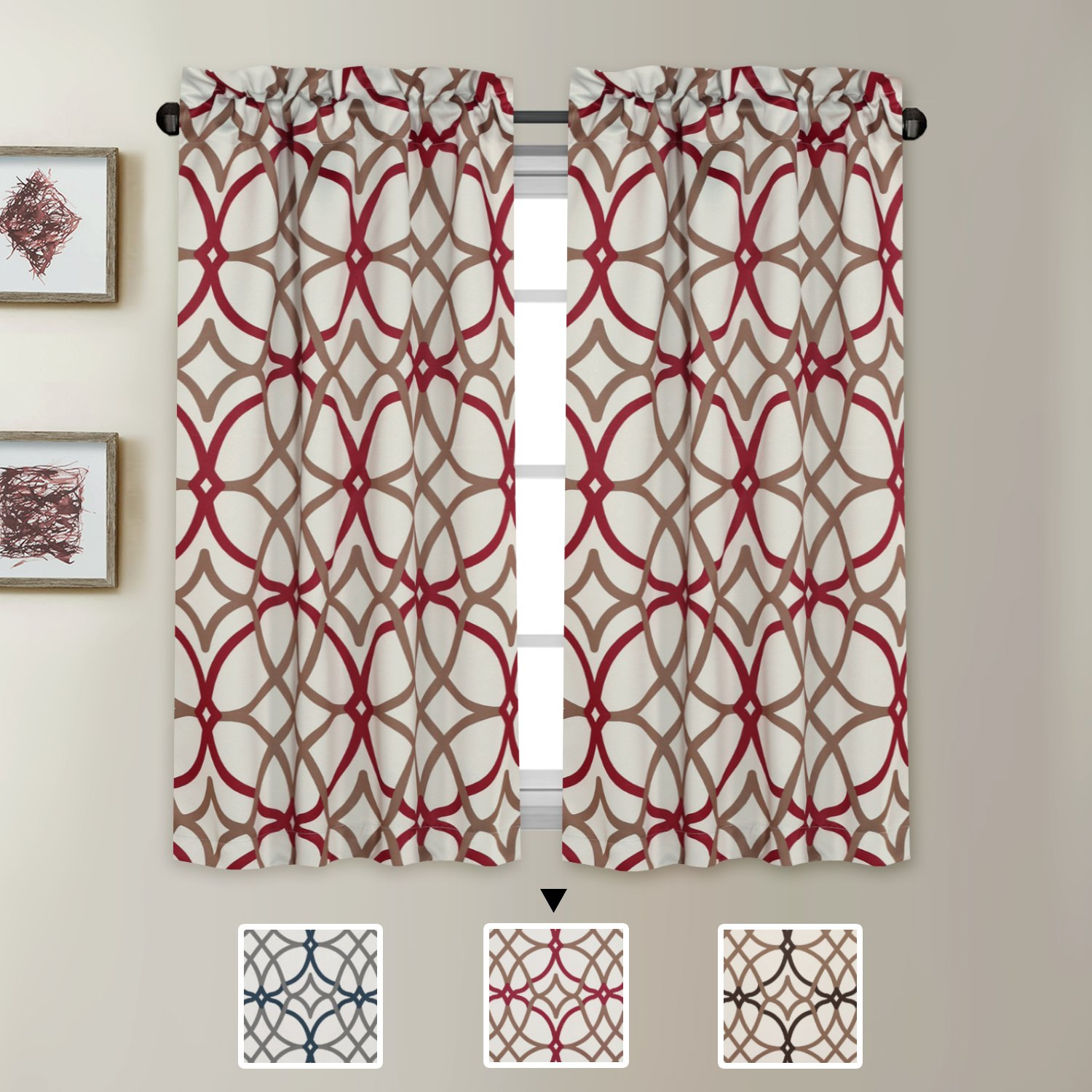 """H.VERSAILTEX Ultra Soft Textured Woven Kitchen Curtains Rod Pocket Window Curtain Tiers for Café, Bath, Laundry, Bedroom - Taupe and Red Geo Pattern - (58"""" W x 45"""" L Pair)"""