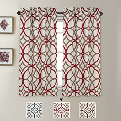 H.VERSAILTEX Ultra Soft Textured Woven Kitchen Curtains Rod Pocket Window  Curtain Tiers for Café, Bath, Laundry, Bedroom - Taupe and Red Geo Pattern  - ...