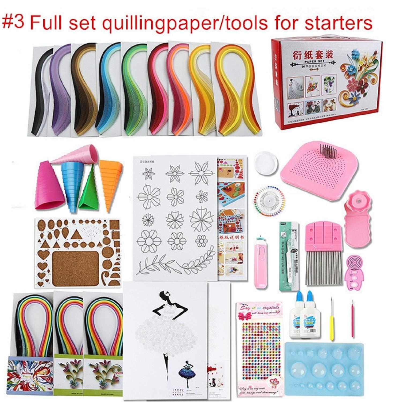 Full Set Starter Scrapbooking Quilling Paper Tool kit climper Border Tower Rolling Pen Needle tweezer Ruler Paper Craft DIY 8C2 by Souvenir