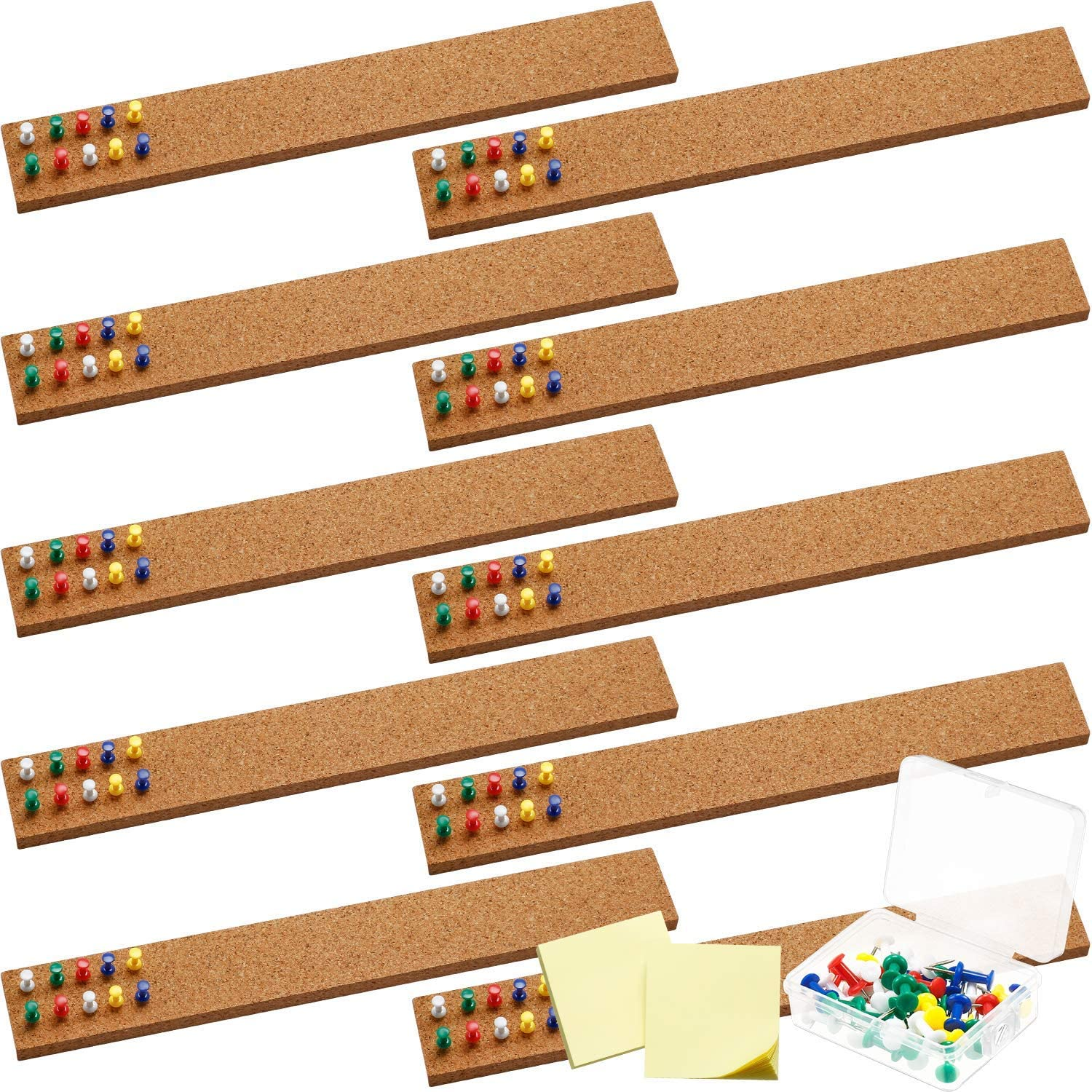 10 Pieces Cork Board Strips Cork Strips Cork Bulletin Bar Strips 2 x 15 Inch Cord Board Frameless Self-Adhesive Cork Board with 40 Pieces Push Pin and 2 Pieces Sticky Note for Office School Home Decor