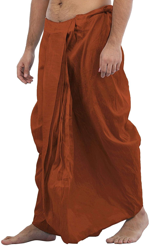 Maenner-Dhoti-Dupion-Silk-Plain-handgefertigt-fuer-Pooja-Casual-Hochzeit-Wear Indexbild 20