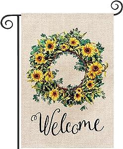 Sunflower Wreath Welcome Garden Flag, hogardeck Premium Burlap Summer Yard Flag, Vertical Double Sided Holiday Sunflower Decor, Outdoor Indoor Front Porch Decor, 12.5 x 18 inch