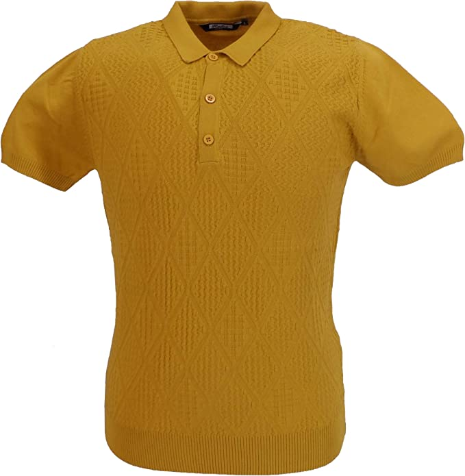 1960s Mens Shirts | 60s Mod Shirts, Hippie Shirts Relco Mens Knitted Pattrned Retro Polo Shirts £39.99 AT vintagedancer.com