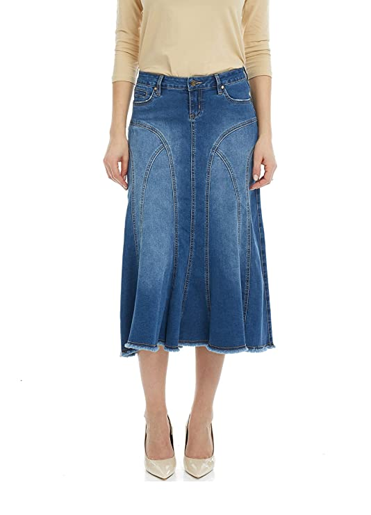 Esteez Women's Denim Midi Skirt- A-Line Flared - Jean Aspen Classic Blue 10 best jean skirts