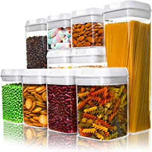 Numyton Airtight Food Storage Containers, Cereal Containers 10-Piece Set with Easy Lock Lids BPA-free Plastic for Kitchen Pantry Storage and Organization
