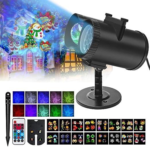 Luces de Proyector Navidad, Impermeable Exterior Decoración Luz de ...