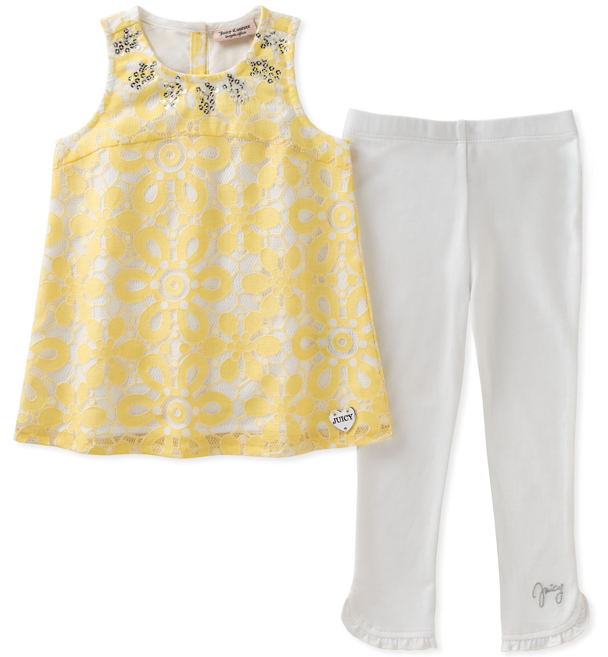 Juicy Couture Girls' Little 2 Pieces Tunic Set, Yellow/White 4