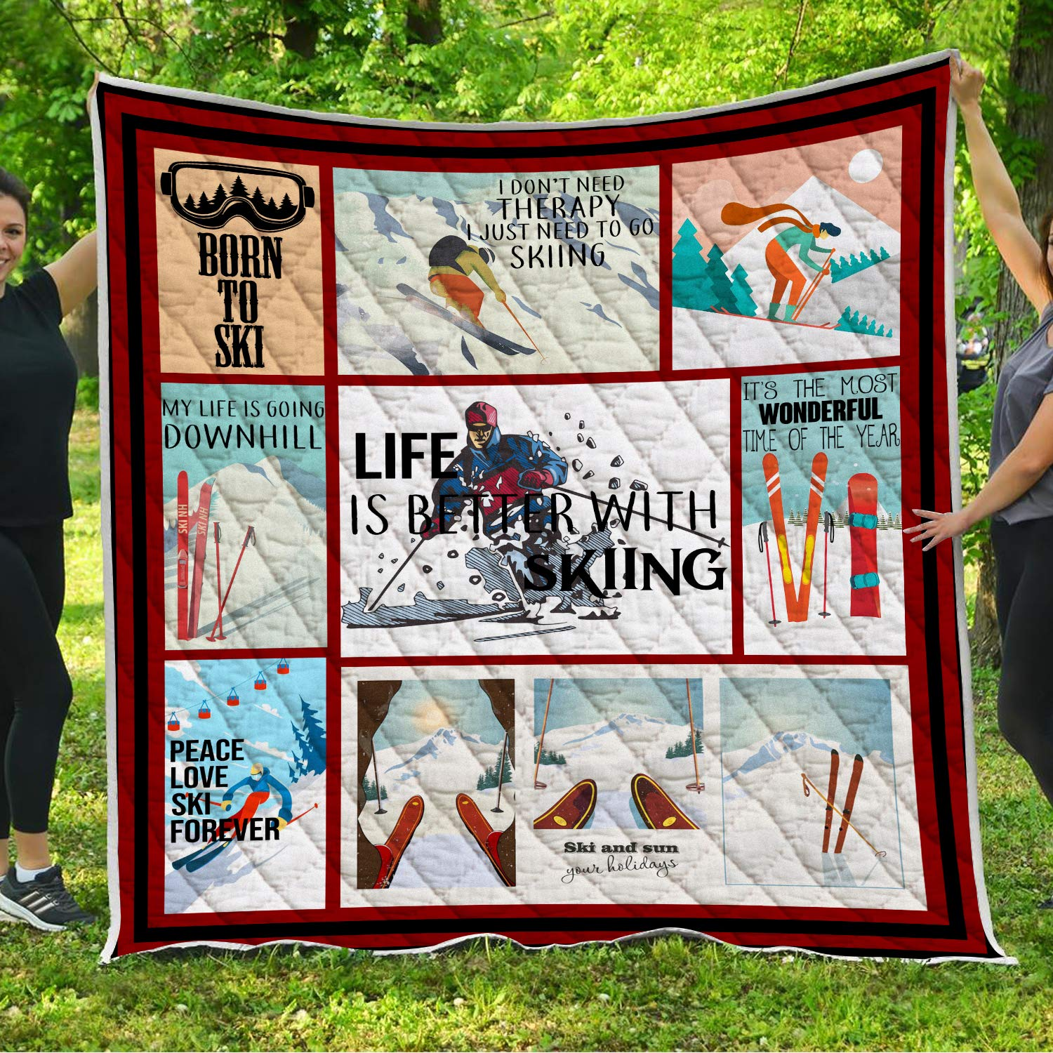 Skiing Quilt Pattern Blanket Comforters with Reversible Cotton King Queen Full Twin Size Quilted Birthday Ski Gifts for Skiers Men Women Dad Mom Kids Children Husband Wife Boyfriend Girlfriend Girls