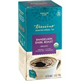 Teeccino Dandelion Tea – Dark Roast - Roasted Herbal Tea, Organic Roasted Dandelion Root, Prebiotic, Caffeine Free, Gluten Free, Acid Free, 25 Tea Bags
