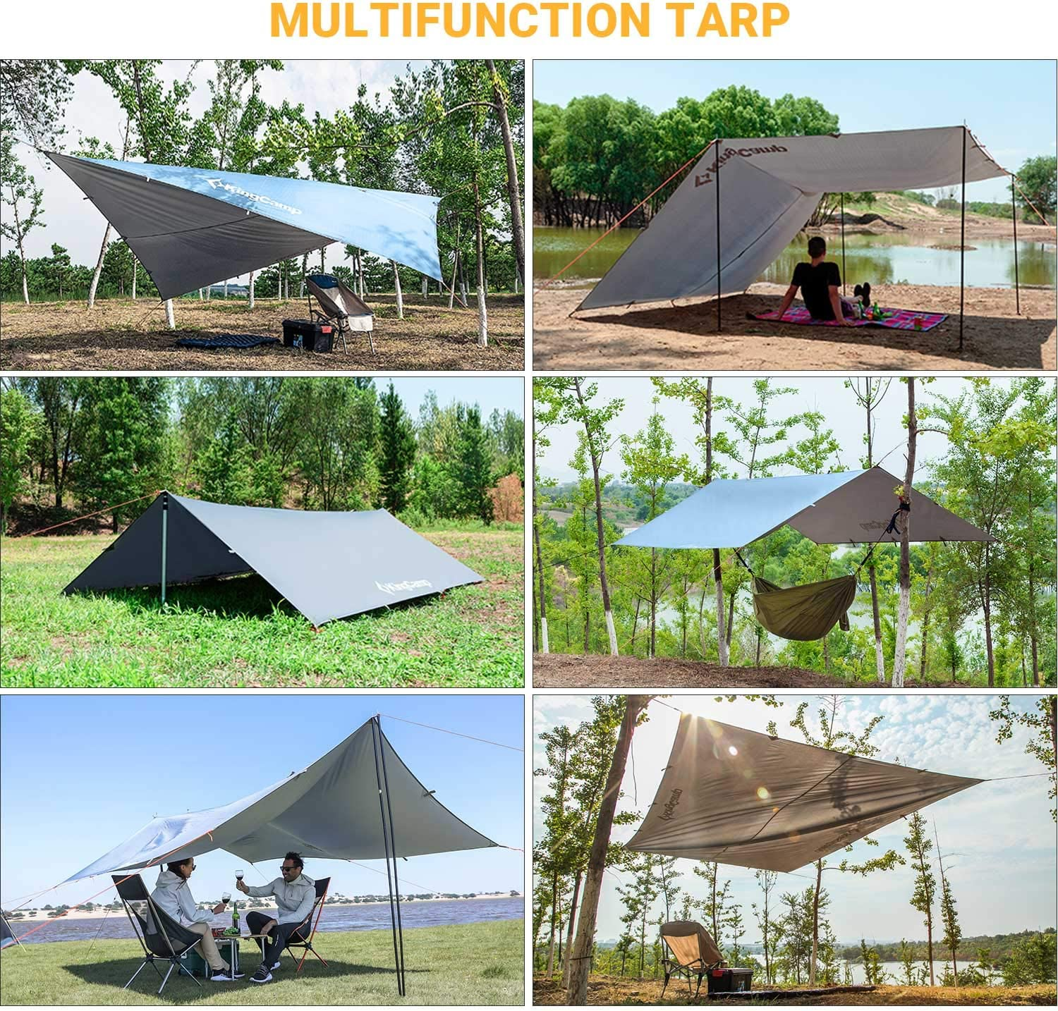 Fishing Waterproof and UV-Resistant Camping Tent Tarp Perfect for Hammock Picnic Or Beach 118.1 x 196.8 inches,Blue Portable KingCamp Rain Fly Tarp-Lightweight Hiking