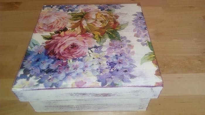 Boîte En Bois Décorée De Motifs Floraux Vintage Avec Technique De Découpage  Et Décapage De Peinture