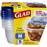 Glad Food Storage Containers, Soup and Salad, 24 Ounce, 5 Count