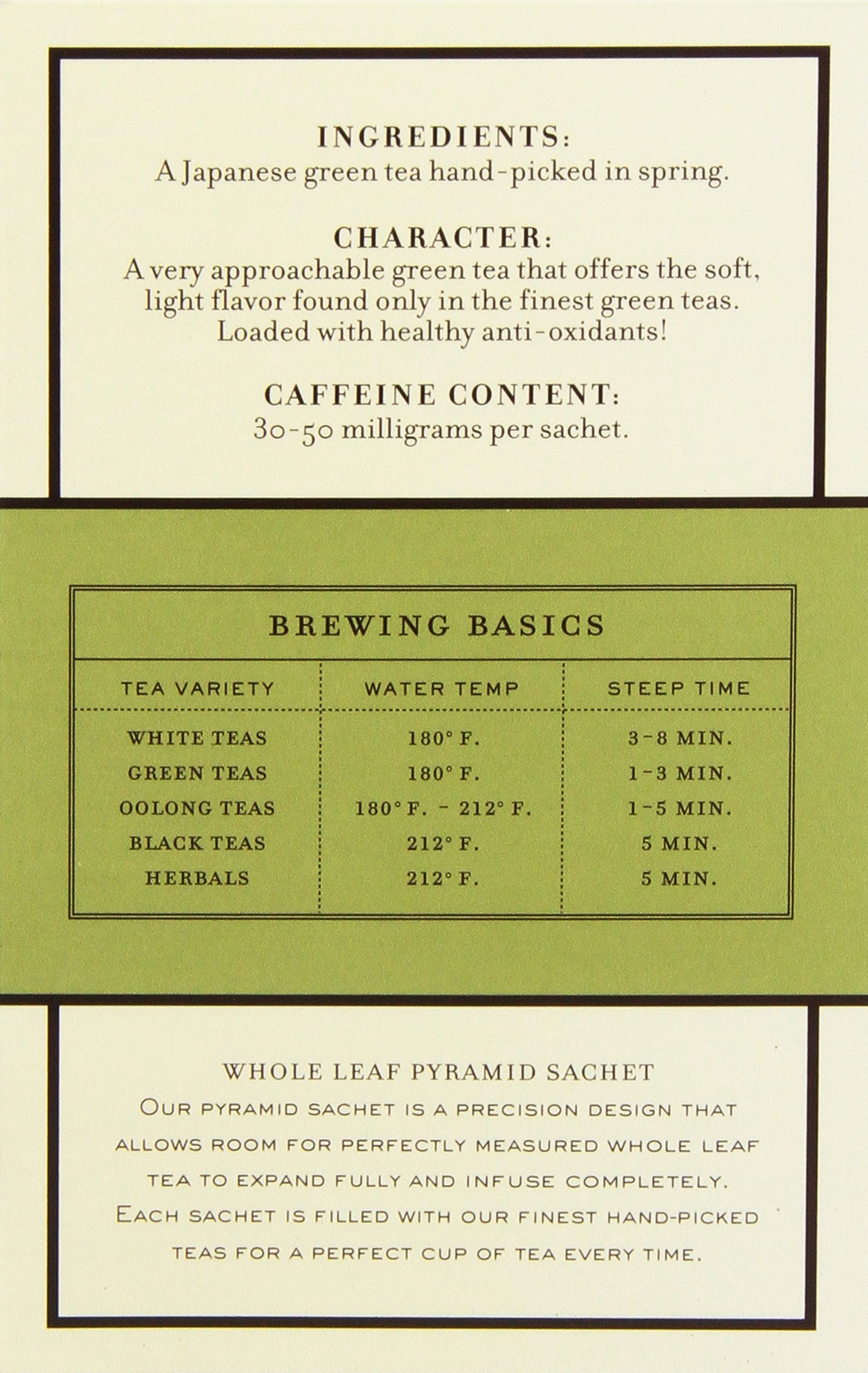 Harney & Sons Green Tea, Japanese Sencha, 20 Sachets, Pack of 6 by Harney & Sons (Image #3)