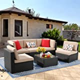 Vongrasig 6 Piece Small Patio Furniture Sets, Outdoor Sectional Sofa All Weather PE Wicker Patio Sofa Couch Garden Backyard C
