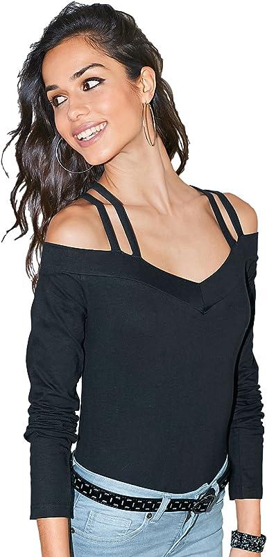 Camiseta Escote v con Tirantes Cruzados en la Espalda Mujer ...