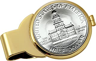 product image for Coin Money Clip - JFK Bicentennial Half Dollar | Brass Moneyclip Layered in Pure 24k Gold | Holds Currency, Credit Cards, Cash | Genuine U.S. Coin | Includes a Certificate of Authenticity