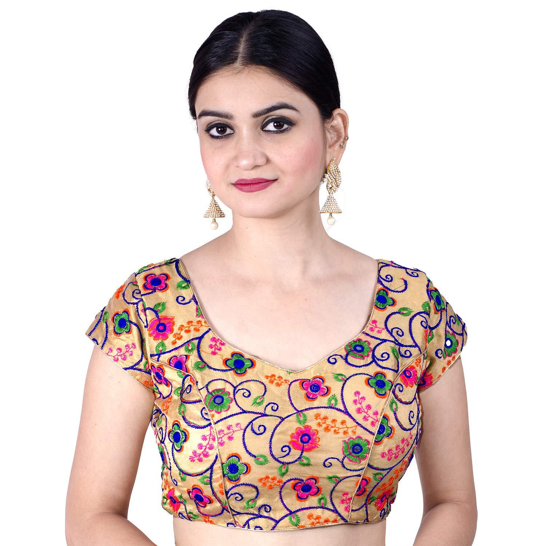 Chandrakala Women's Party Wear Bollywood Readymade MultiWhite Saree Blouse Padded Resham Work Choli (B112MUL1)