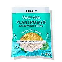 Outer Aisle Gourmet Cauliflower Sandwich Thins | Keto, Gluten Free, Low Carb Cauliflower...