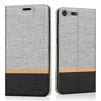 RIFFUE Funda Sony Xperia XZ Premium, Carcasa PU Delgada de Estilo Vaquero Protectora de Folio Flip Case para Sony Xperia XZ Premium - Gris