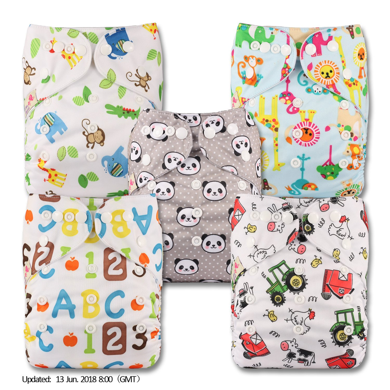Littles /& Bloomz Set of 5 Reusable Pocket Cloth Nappy Fastener: Popper with 10 Bamboo Inserts Patterns 515