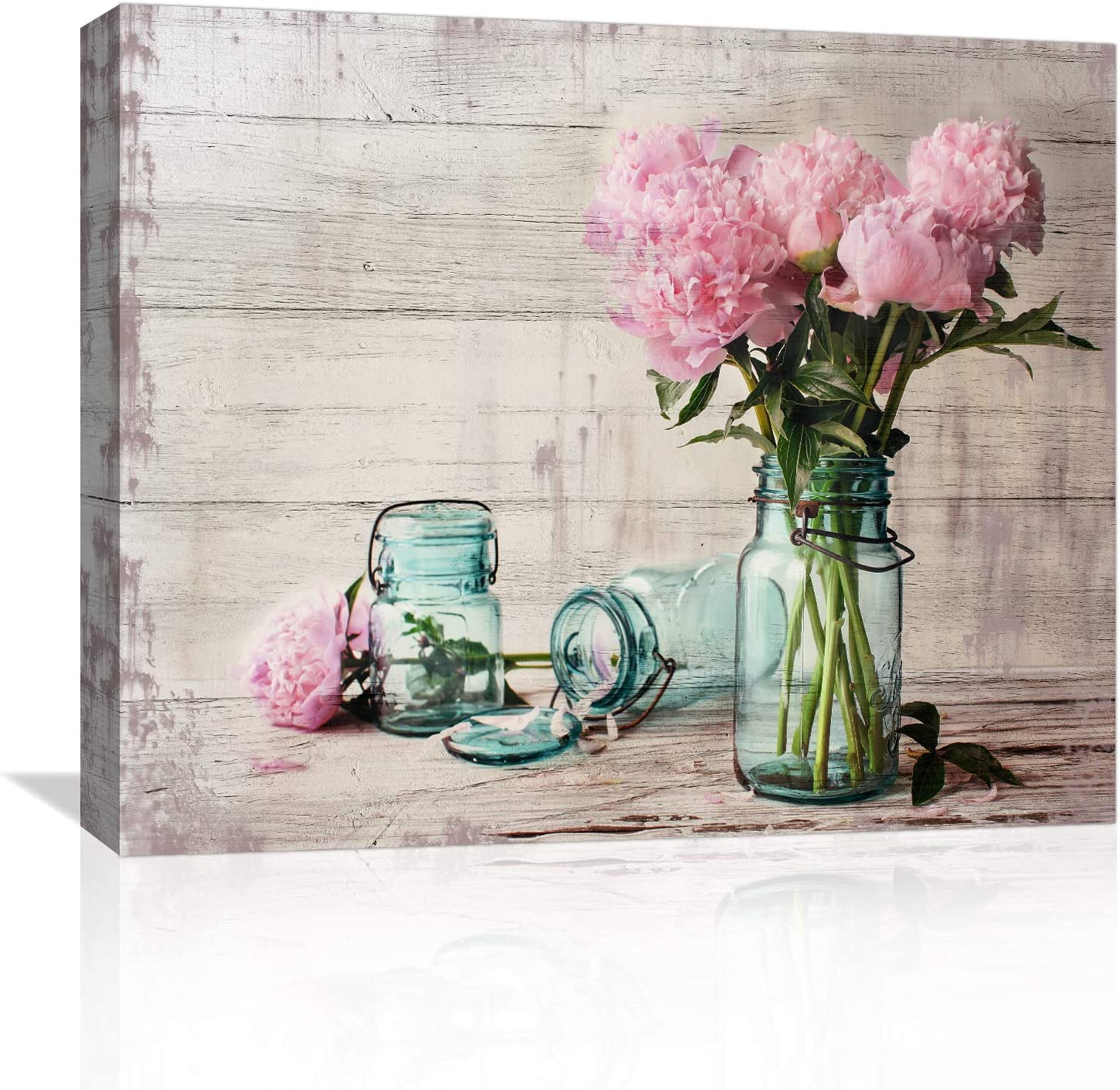 Canvas Wall-Art for Bedroom Bathroom Living-Room and Office Decor, Framed Paintings Modern Farmhouse Wall Art, Pink Flower Wall Decor Picture Artwork for Home Art Prints with Wood Frame Size 16