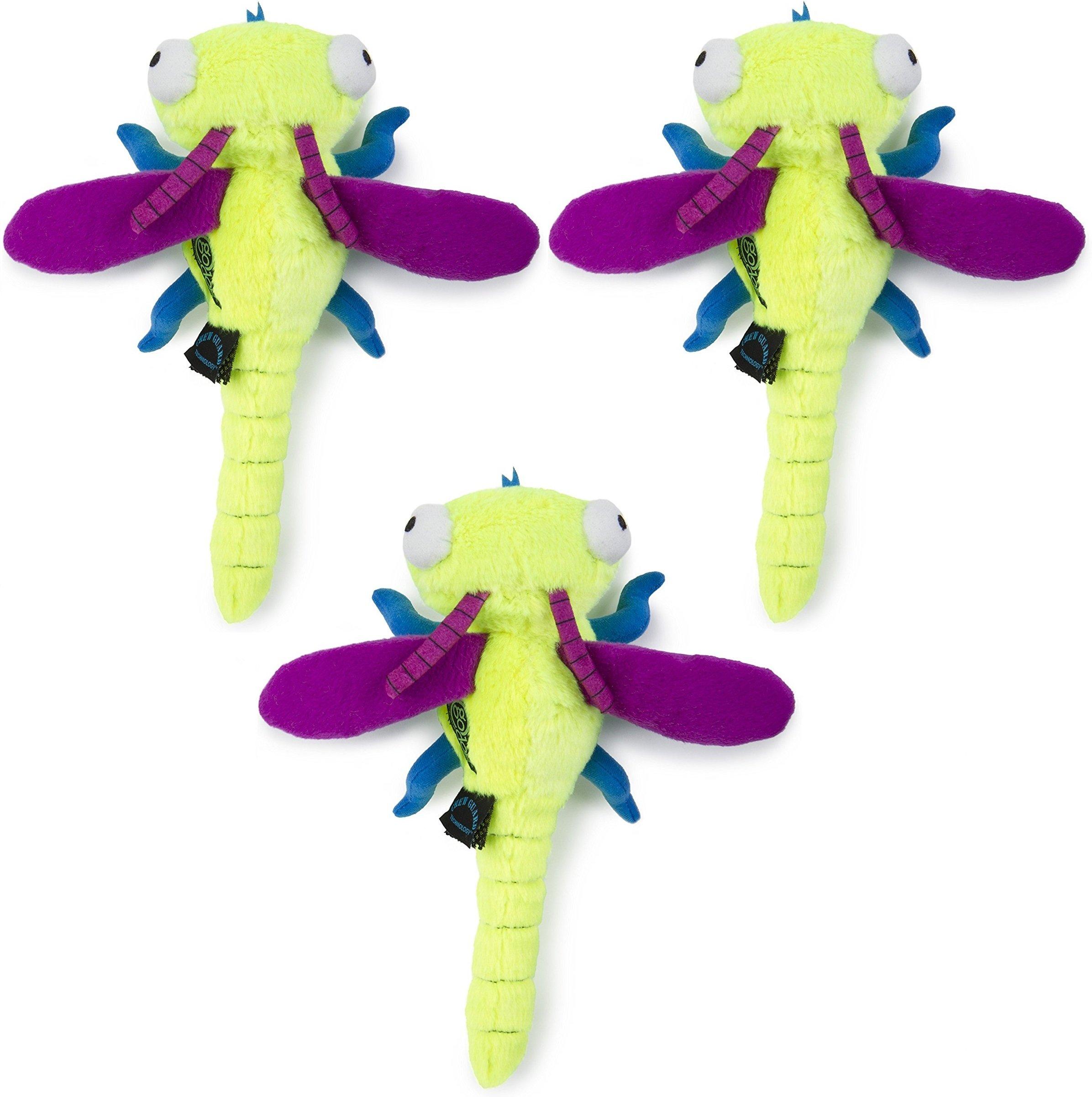 goDog (3 Pack) Tough Plush Bug Dog Toys, Dragonfly, Large by goDog