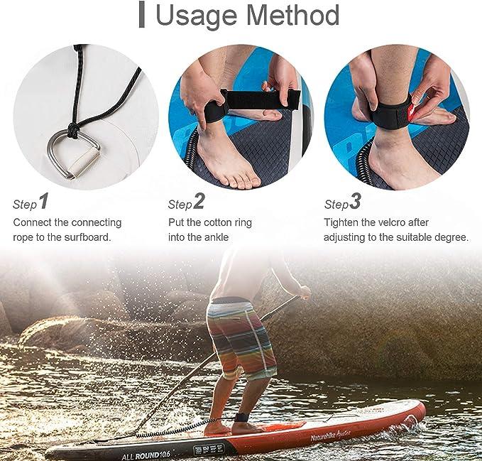 10FT Coiled Surfbrett Ankle Leine Stand UP Paddle Board Bein Seil Einstellbare