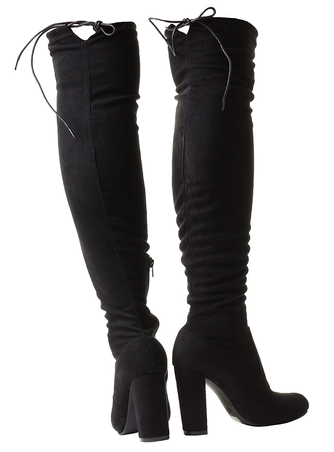 52d7972b92a New Womens Wide Slim Stretchy Leg Thigh Over The Knee Wide Fit Stretch  Black Suede High Heel Boots 3 4 5 6 7 8 Sizes  Amazon.co.uk  Shoes   Bags