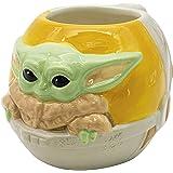 Zak Designs Star Wars The Mandalorian - Taza de café de cerámica esculpida con un personaje único en 3D, 16 onzas, Baby Yoda/