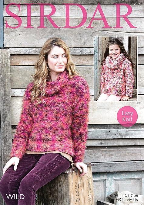 Sirdar 7969 Knitting Pattern Girls Womens Easy Knit Cowl Neck