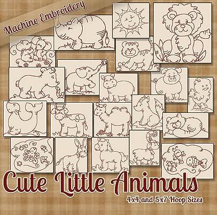 Amazon Com Cute Little Animals Redwork Machine Embroidery Designs